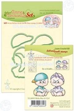 Bild von Lea'bilitie® Silikon Stempel & Kontur Schneideschablone Set Baby: Jungen  & Mädchen